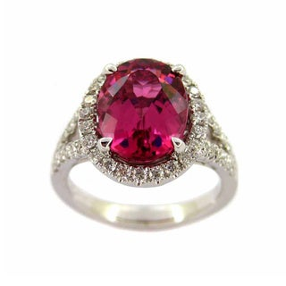 Kabella 14k White Gold Oval Tourmaline 3/5ct TDW Diamond Ring (G-H, SI1-SI2)