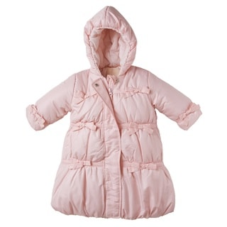 Rothschild Infant Baby Girl's Bow Trimmed Bunting Snowsuit - Pink 0-6M