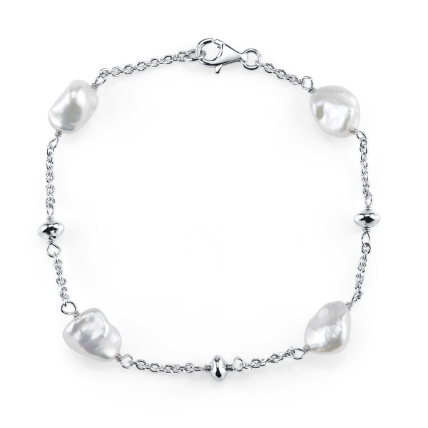 Radiance Pearl Sterling Silver Keshi White Freshwater Pearl Bracelet (7-8mm)