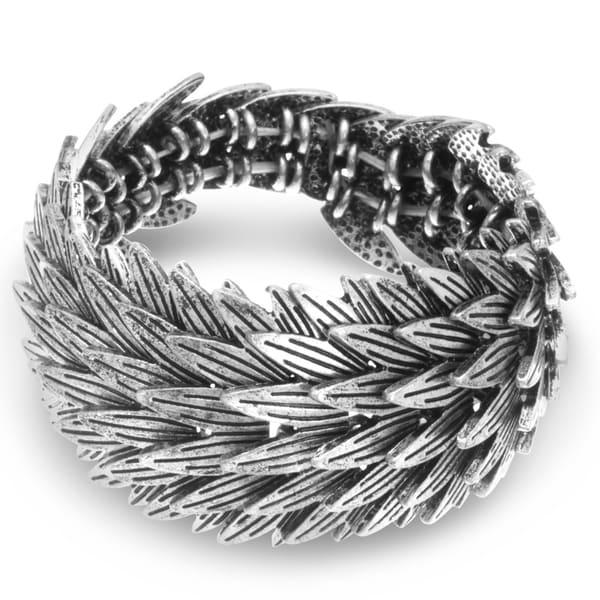 Silver Leaf Stretch Bracelet, Fits Wrist Sizes 7-8