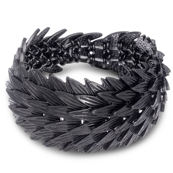 Gunmetal Leaf Stretch Bracelet, Fits Wrist Sizes 7-8