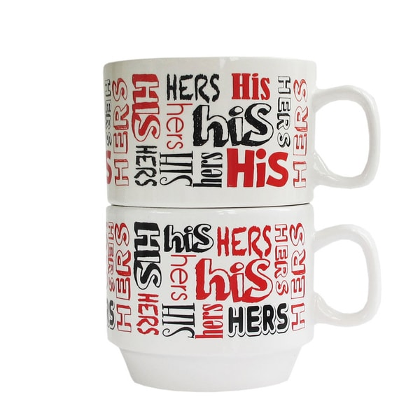 His and Hers Black/ Red Mug (Set of 2)