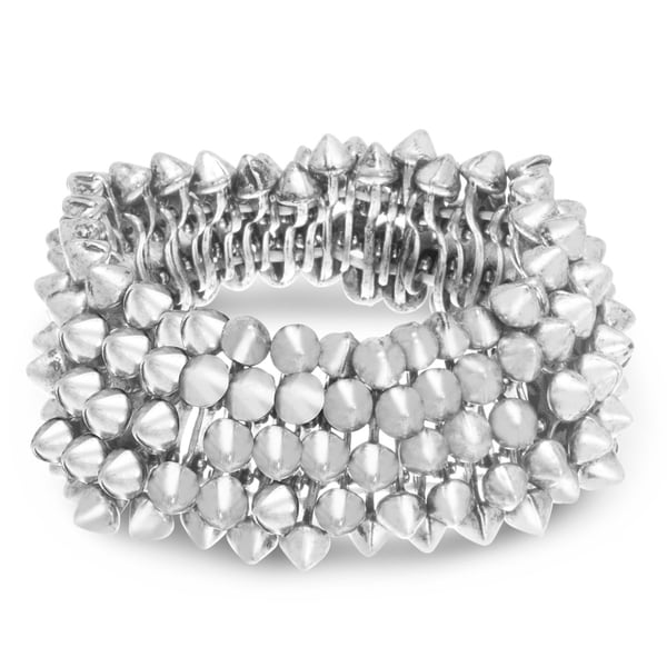 Silver Spike Stretch Bracelet, Fits Wrist Sizes 7-8