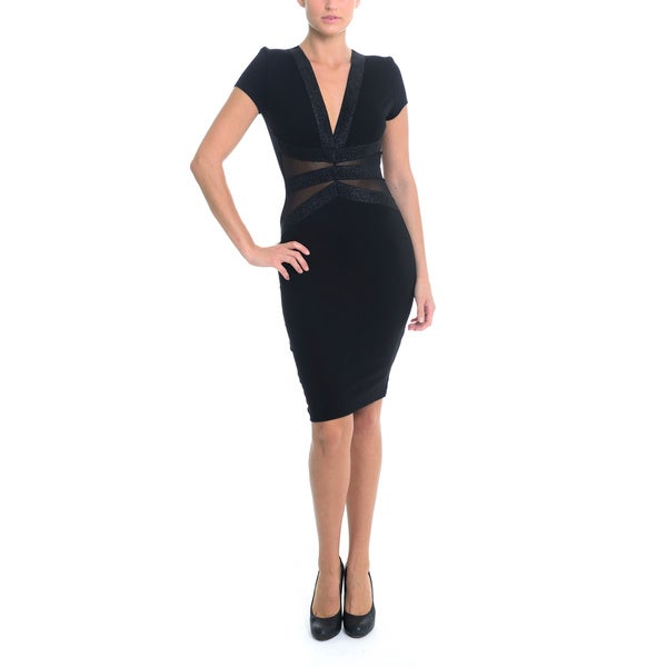Sentimental NY Bodycon V-Neck Knee Dress With Mesh Detailing And Elastic Shimmer Waist Band