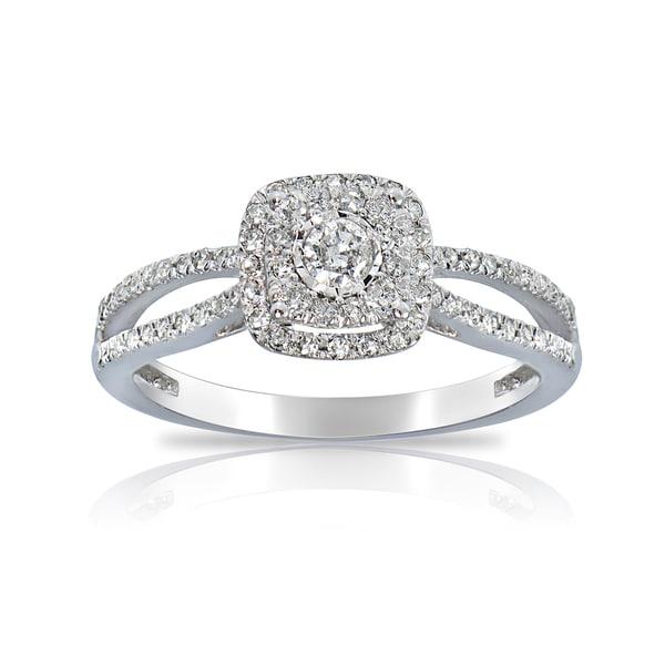 DB Designs 14K White Gold 1/3ct TDW Diamond Square Engagement Ring 16053973