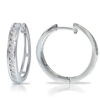 DB Designs 14K White Gold 1/2ct TDW Diamond Channel-Set Hoop Earrings (G-H, I2)