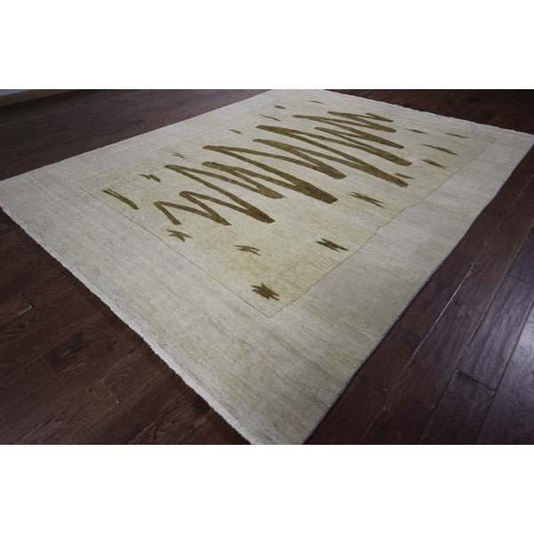 Hand-knotted New Brown Crayon Scribble Ivory Gabbeh Wool Area Rug (8' x 10')