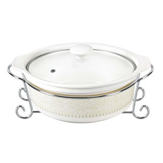 D'Lusso Designs Classic Design 11-inch Round Casserole Dish with Metal Stand