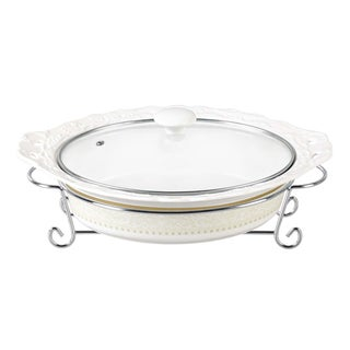 D'Lusso Designs Classic Design 14-inch Oval Casserole Dish with Metal Stand