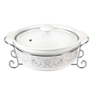 D'Lusso Designs Deco Design 11-inch Round Casserole Dish with Metal Stand
