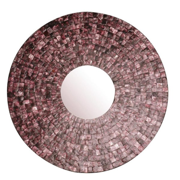 Linn Round Purple Mirror