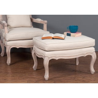 Everett Antique Off-white Upholstered Ottoman