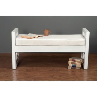 Adrian Contemporary Geometric White Accent Bench