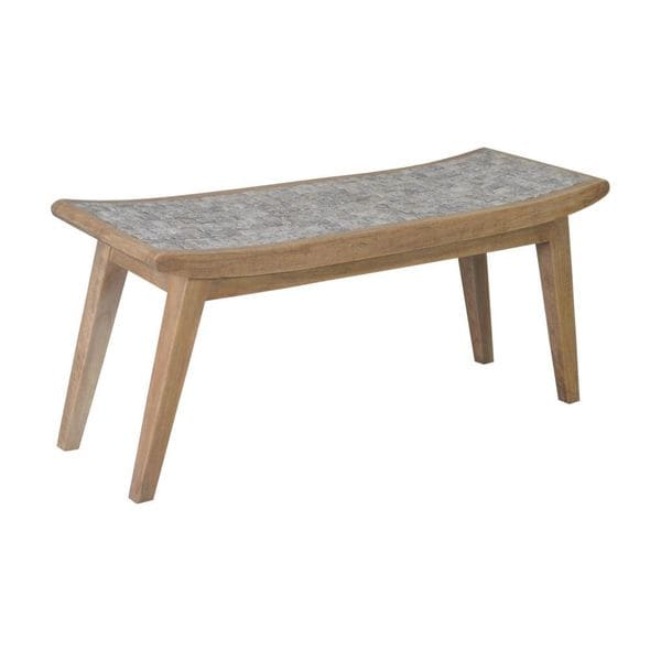 Halsey Contemporary Grey Coconut Chips Bench