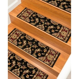 """Handcrafted Sydney Carpet Black Stair Treads (9"""" x 29"""") (Set of 13)"""