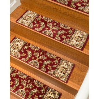 """Handcrafted Sydney Carpet Red Stair Treads (9"""" x 29"""") (Set of 13)"""