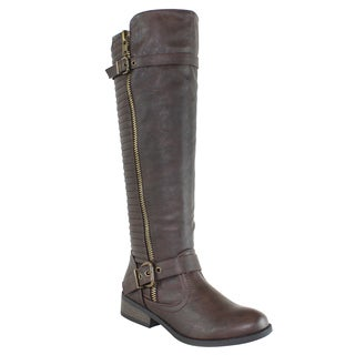 Olivia Miller 'Houston' Knee High Back Trapunto Multi Buckle Riding Boots