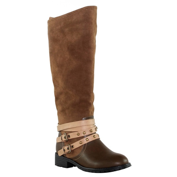 Olivia Miller 'Rivington' Knee High Slip-On Multi Ankle Strap Studded Riding Boots