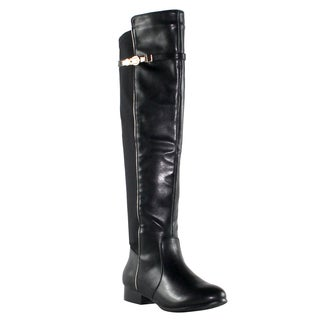 Olivia Miller 'Lexington' Over the Knee Stretch Gold Buckle Boots