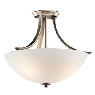 Kichler Lighting Granby Collection 3-light Brushed Pewter Flourescent Semi-Flush Mount