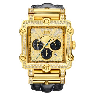 JBW Phantom Yellow Goldtone Diamond Accented Square Case Watch