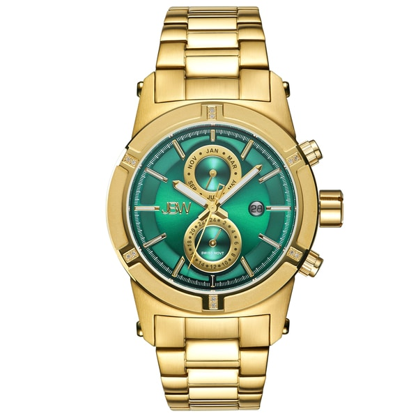 Jbw Strider Men's Green Dial 18k Gold-plated Stainless Steel Bracelet Watch