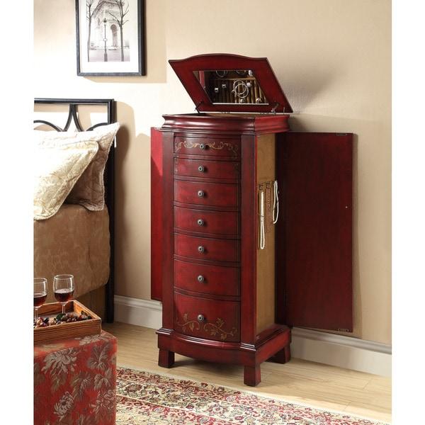 Treasure Trove Accents Concord Burnished Red Jewelry Armoire