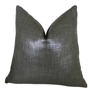 Plutus Glazed Linen Indigo Handmade Double Sided Throw Pillow