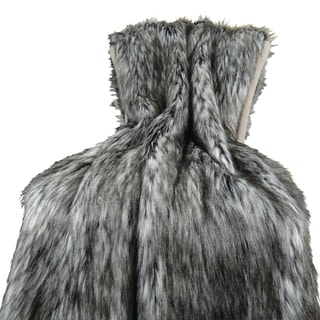 Plutus Luxury Grey Faux Fur Siberian Husky Throw