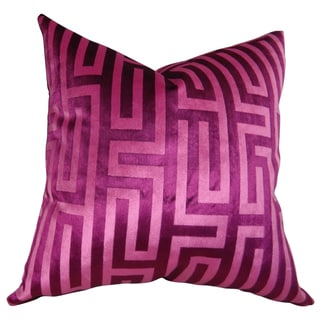 Plutus Luxury Fushia Cesire Velvet Maze Handmade Throw Pillow