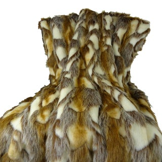 Plutus Luxury Ivory Brown Brandy Faux Fur Throw Blanket