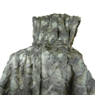 Plutus Grey Ivory Rabbit Faux Fur Throw Blanket