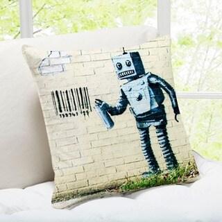 'Robot and Barcode' New York Banksy Art Throw Pillow