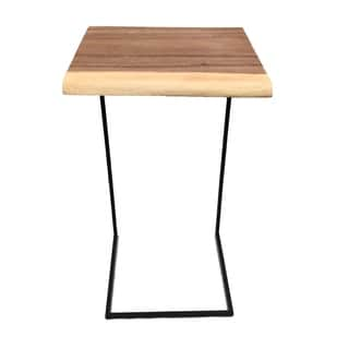 Square Acacia Table Small with Black Legs