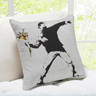 Rage, Flower Thrower Banksy Throw Pillow