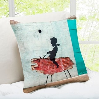 'Rodeo Cowboy Kid' New York Banksy Art Throw Pillow