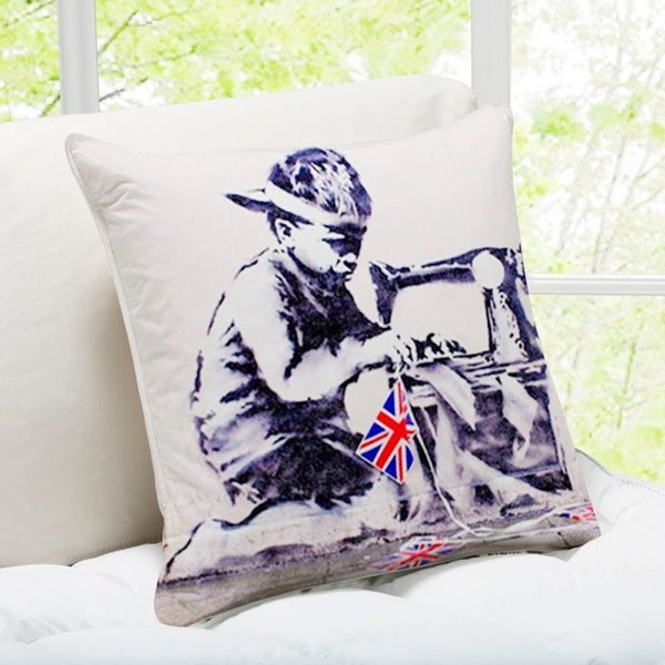 'Labour' London Banksy Art Throw Pillow