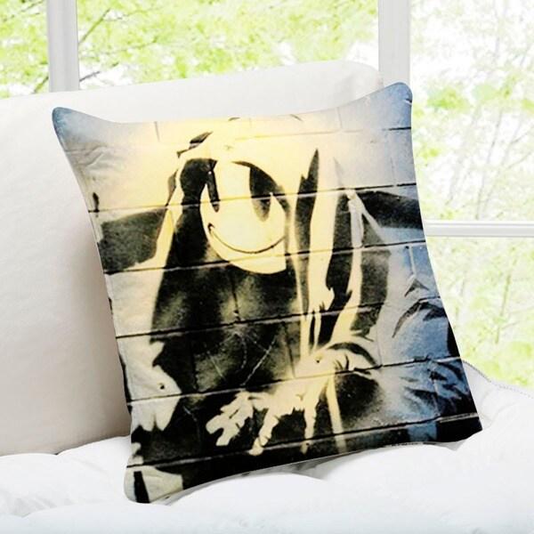 'Smiley Grim Reaper' Shoreditch Banksy Art Throw Pillow