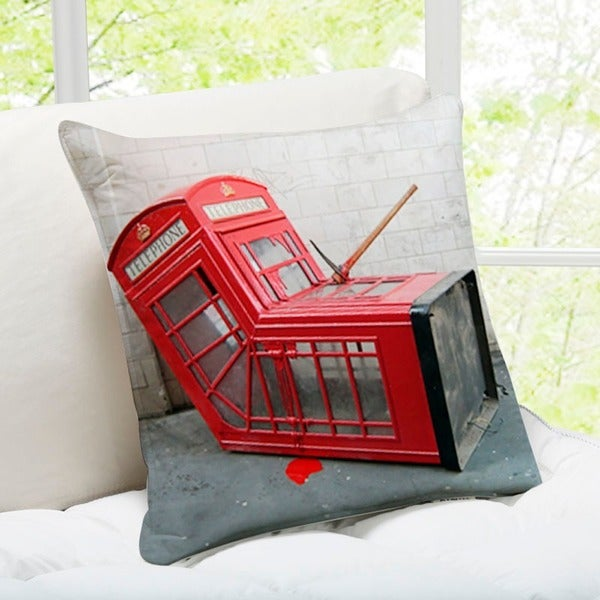 'Telephone Box' London Banksy Art Throw Pillow