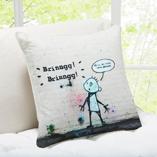 'Tap Phoned' London Banksy Art Throw Pillow