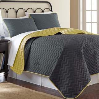 Solid Reversible Chevron 3-piece Coverlet set
