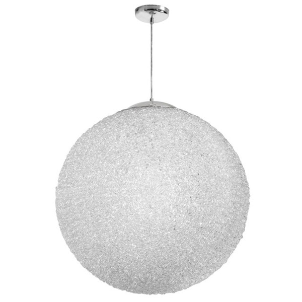 "Dainolite 3-light 32"" Diameter Acrylic Pendant in Clear with Polished Chrome Hardware"