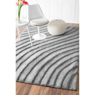 nuLOOM Handmade Solid Plush Grey Waves Shag Rug (7'6 x 9'6)