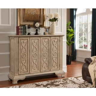 Treasure Trove Accents Kendall Texture Ivory Two Folding Door Cabinet