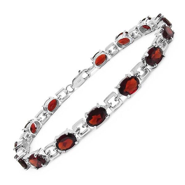 Malaika Sterling Silver 14ct Garnet Bracelet
