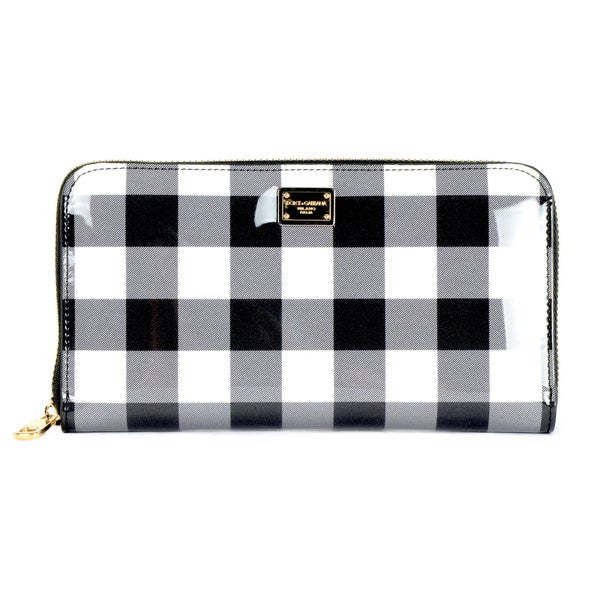 Dolce & Gabbana Leather Black/ White Stripe Zip Around Dauphine Wallet