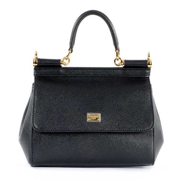 Dolce & Gabbana Black Leather Medium Miss Sicily Bag