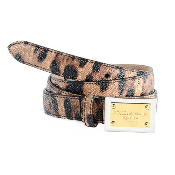Dolce & Gabbana Women's Leather Leopard Print Belt