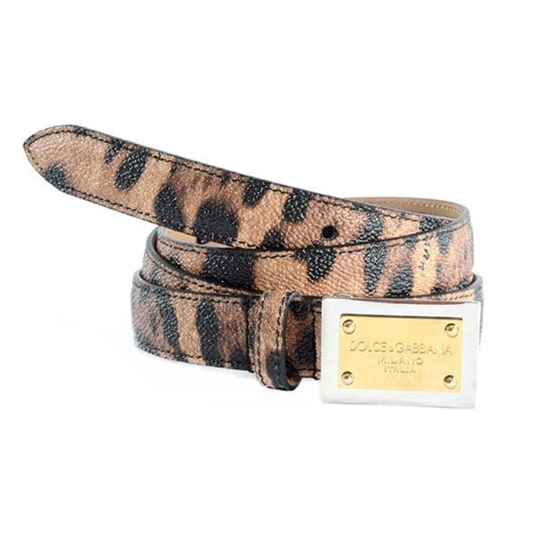 Dolce & Gabbana Women's Leather Leopard Print Belt