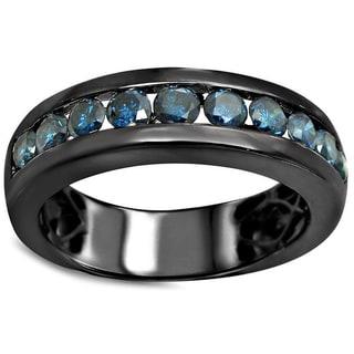 Noori 14k Black Gold Men's 1ct TDW Blue Diamond Ring (SI1-SI2)